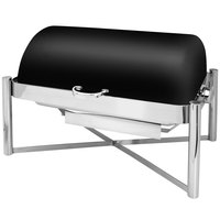 Eastern Tabletop 3124MB Pillar'd 8 Qt. Rectangular Black Coated Stainless Steel Roll Top Chafer