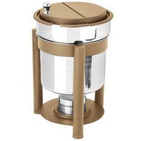 Eastern Tabletop 3107PLRZ Pillar'd 7 Qt. Stainless Steel Soup Marmite with Bronze Accents and Fuel Holder