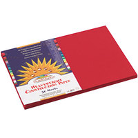 SunWorks 9907 12 inch x 18 inch Holiday Red Pack of 58# Construction Paper - 50/Sheets