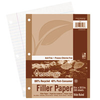 Pacon 3203 Ecology 8 inch x 10 1/2 inch White Wide Ruled 3-Hole Punch Pack of 16# Recycled Filler Paper - 150/Sheets
