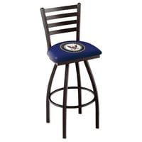 Holland Bar Stool L01430Navy United States Navy Swivel Stool with Ladder Back and Padded Seat