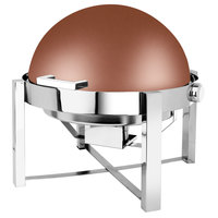 Eastern Tabletop 3148CP P2 8 Qt. Round Copper Coated Stainless Steel Roll Top Chafer
