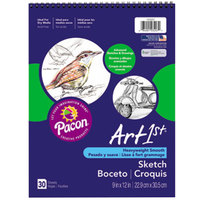 Pacon 103207 Art1st 9 inch x 12 inch White Heavy Weight Smooth 80# Stock Paper Sketch Book