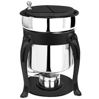 Eastern Tabletop 3107QAMB Queen Anne 7 Qt. Stainless Steel Soup Marmite with Black Accents and Fuel Holder