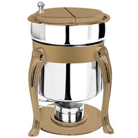 Eastern Tabletop 3107QARZ Queen Anne 7 Qt. Stainless Steel Soup Marmite with Bronze Accents and Fuel Holder