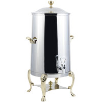 Bon Chef 48005-1-E Lion 5 Gallon Insulated Stainless Steel Electric Coffee Chafer Urn with Brass Trim