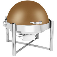 Eastern Tabletop 3128RZ Pillar'd 8 Qt. Round Bronze Coated Stainless Steel Roll Top Chafer
