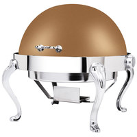 Eastern Tabletop 3118QARZ Queen Anne 8 Qt. Round Bronze Coated Stainless Steel Roll Top Chafer