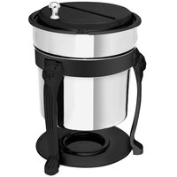 Eastern Tabletop 3101LHMB Lion Head 2 Qt. Stainless Steel Soup Marmite with Black Accents and Fuel Holder