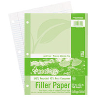 Pacon 3202 Ecology 8 1/2 inch x 11 inch White College Ruled 3-Hole Punch Pack of 16# Recycled Filler Paper - 150/Sheets