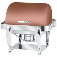 Eastern Tabletop 3117CP Park Avenue 4 Qt. Rectangular Copper Coated Stainless Steel Roll Top Chafer