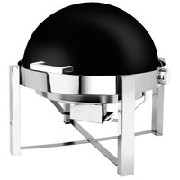 Eastern Tabletop 3148MB P2 8 Qt. Round Black Coated Stainless Steel Roll Top Chafer