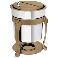 Eastern Tabletop 3101LHRZ Lion Head 2 Qt. Stainless Steel Soup Marmite with Bronze Accents and Fuel Holder