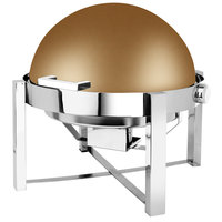 Eastern Tabletop 3148RZ P2 8 Qt. Round Bronze Coated Stainless Steel Roll Top Chafer