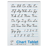 Pacon 74610 24 inch x 32 inch White Ruled Chart Tablet with Cursive Cover