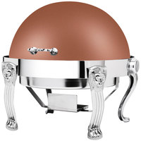 Eastern Tabletop 3118LHCP Lion Head 8 Qt. Round Copper Coated Stainless Steel Roll Top Chafer