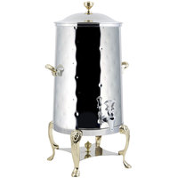 Bon Chef 48005-H Lion 5 Gallon Insulated Hammered Stainless Steel Coffee Chafer Urn with Brass Trim