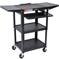 Luxor AVJ42KBDL Adjustable Height Black A/V Cart with Keyboard Shelf and Drop Leaf Shelves