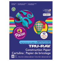 Pacon 102940 Tru-Ray 9 inch x 12 inch Assorted Bright Color Pack of 76# Construction Paper - 50/Sheets