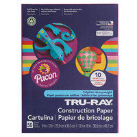 Pacon 102940 Tru-Ray 9 inch x 12 inch Assorted Bright Color Pack of 76# Construction Paper - 50 Sheets