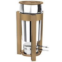 Eastern Tabletop 3101P2RZ P2 2 Qt. Stainless Steel Soup Marmite with Bronze Accents and Fuel Holder