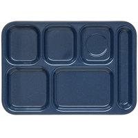 Carlisle 4398835 Cafe Blue 10 inch x 14 inch Heavy Weight Melamine Right Hand 6 Compartment Tray