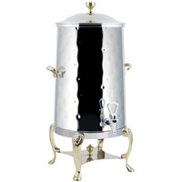 Bon Chef 48005-1-H Lion 5 Gallon Insulated Hammered Stainless Steel Coffee Chafer Urn with Brass Trim