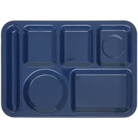 Carlisle 4398050 10 inch x 14 inch Dark Blue Heavy Weight Melamine Left Hand 6 Compartment Tray