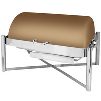 Eastern Tabletop 3124RZ Pillar'd 8 Qt. Rectangular Bronze Coated Stainless Steel Roll Top Chafer