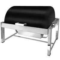 Eastern Tabletop 3144MB P2 8 Qt. Rectangular Black Coated Stainless Steel Roll Top Chafer