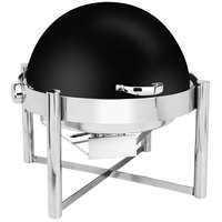 Eastern Tabletop 3128MB Pillar'd 8 Qt. Round Black Coated Stainless Steel Roll Top Chafer