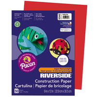 Pacon 103442 Riverside 9 inch x 12 inch Holiday Red Pack of 76# Construction Paper - 50/Sheets
