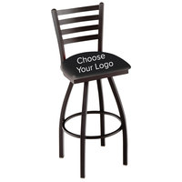Holland Bar Stool Logo Swivel Stool with Ladder Back and Padded Seat