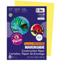 Pacon 103592 Riverside 9 inch x 12 inch Yellow Pack of 76# Construction Paper - 50/Sheets