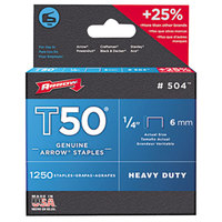 Arrow 504 T50 1/4 inch Heavy-Duty Chisel Point Staples - 1250/Pack