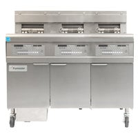 Frymaster FPGL330-4RCA Natural Gas Floor Fryer with Full Left Frypot / Two Right Split Pots and Automatic Top Off - 225,000 BTU