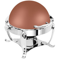 Eastern Tabletop 3119CP Park Avenue 4 Qt. Round Copper Coated Stainless Steel Roll Top Chafer