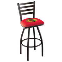 Holland Bar Stool L01430ChiHwk-R Chicago Blackhawks Swivel Stool with Ladder Back and Padded Seat