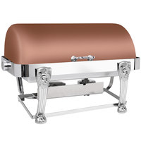 Eastern Tabletop 3114LHCP Lion Head 8 Qt. Rectangular Copper Coated Stainless Steel Roll Top Chafer