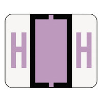 Smead 67078 1 1/4 inch x 1 inch A-Z Color-Coded Lavender Letter H Name Filing Label - 500/Roll