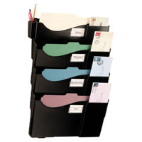 Officemate 21724 16 5/8 inch x 4 3/4 inch x 23 1/4 inch Black Plastic 4-Pocket Wall Mounted Grande Central Filing System