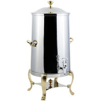 Bon Chef 40005 Aurora 5 Gallon Insulated Stainless Steel Coffee Chafer Urn with Brass Trim
