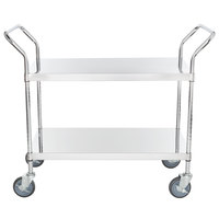 Regency Stainless Steel Two Shelf Utility Cart - 36 inch x 18 inch x 37 inch