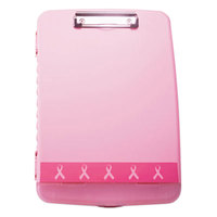 Officemate 08925 1/2 inch Capacity 8 1/2 inch x 11 inch Pink Breast Cancer Awareness Storage Clipboard