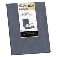 Southworth 98872 Letter Size Heavyweight 2-Pocket Paper Pocket Folder - Gray Metallic - 8/Pack