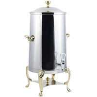 Bon Chef 48003-1-E Lion 3 Gallon Insulated Stainless Steel Electric Coffee Chafer Urn with Brass Trim