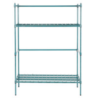 Regency 4 Keg Green Epoxy Keg Rack - 18 inch x 48 inch x 64 inch