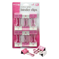 Officemate 08905 5/8 inch Capacity Pink / White Breast Cancer Awareness Medium Binder Clip - 12/Pack