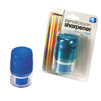 Officemate 30220 Blue Manual Twin Pencil / Crayon Sharpener with Cap