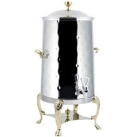Bon Chef 48003-1-H Lion 3 Gallon Insulated Hammered Stainless Steel Coffee Chafer Urn with Brass Trim